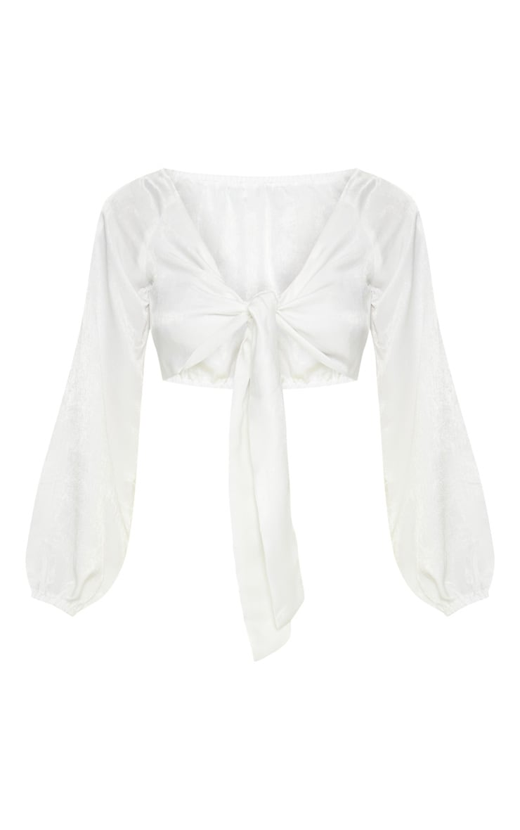 White Woven Bardot Tie Front Crop Top 3