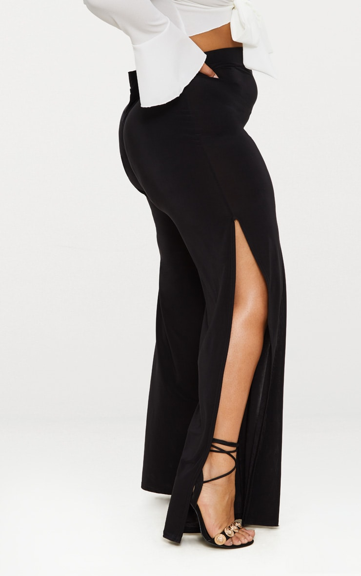Plus Black Wide Leg Slinky Trousers 2