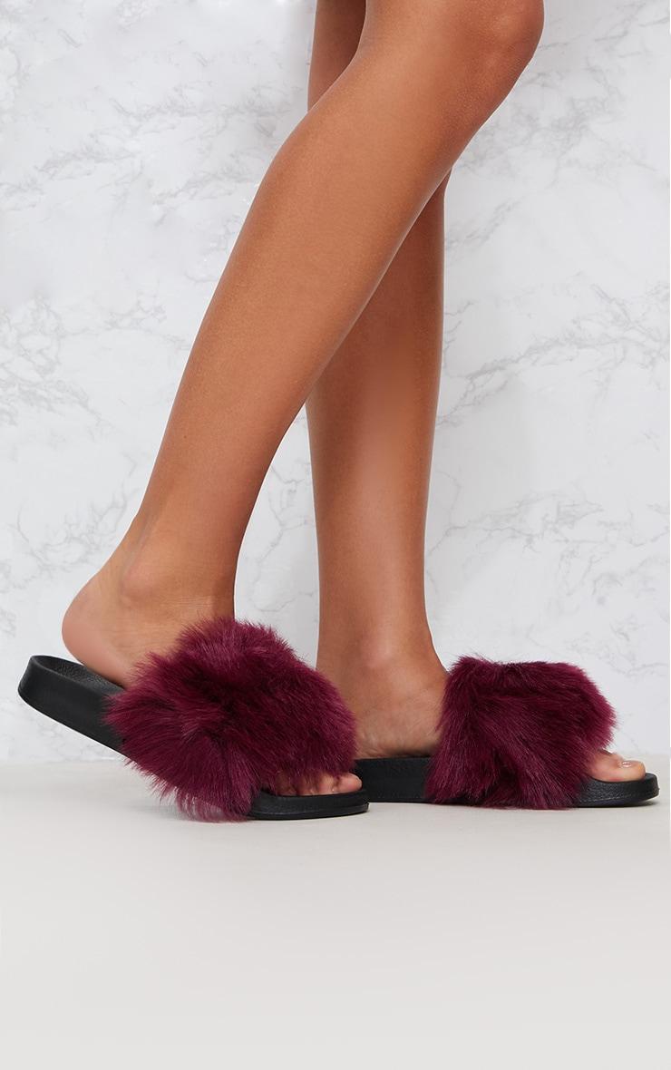 Burgundy Faux Fur Slider 2