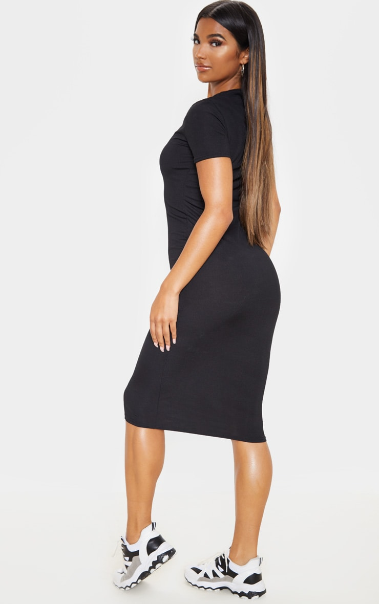 Black Ribbed Crew Neck Midi Dress 2