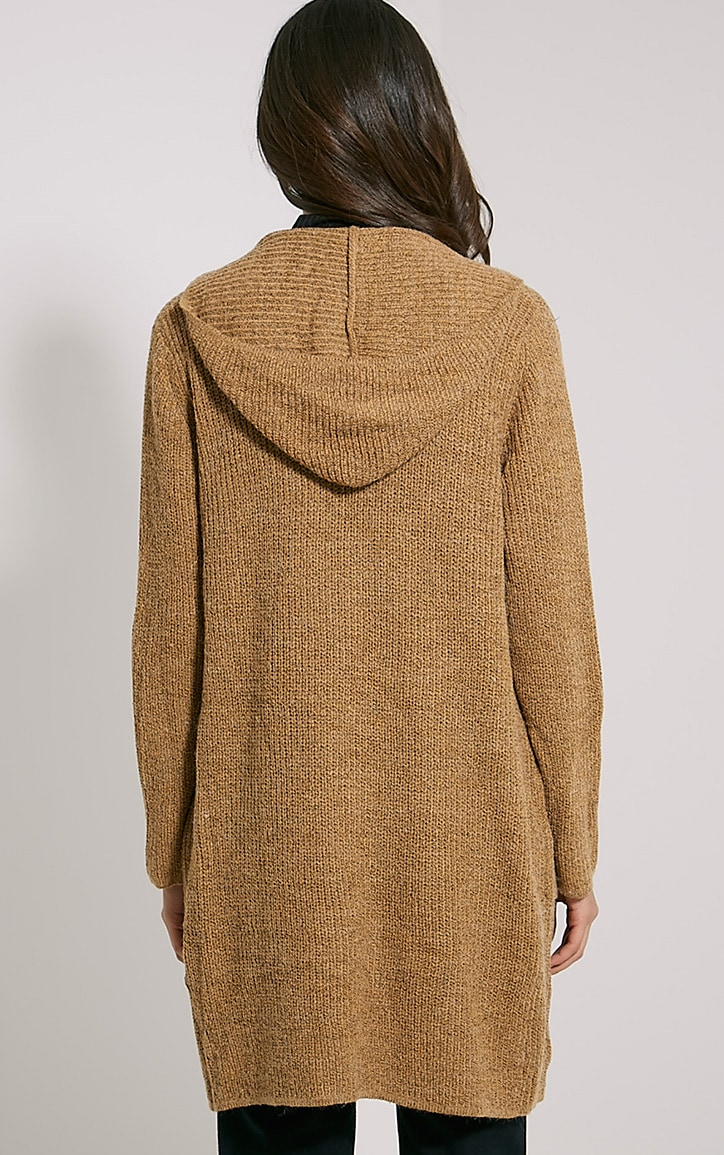 Selene Camel Knitted Hooded Cardigan 2
