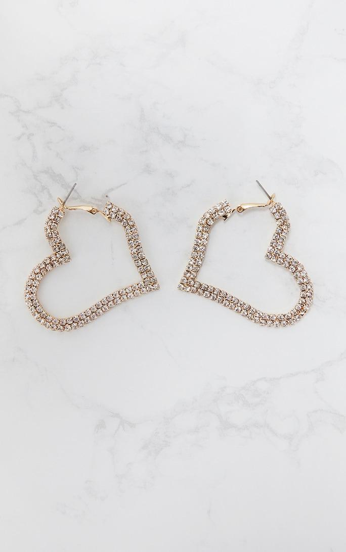 Gold Diamante Heart Hoop Earrings 4