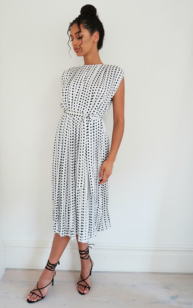White Polka Dot Pleated Sleeveless Midi Dress 3