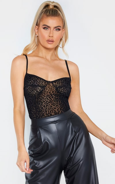 Tall Black Leopard Mesh Cup Detail Bodysuit