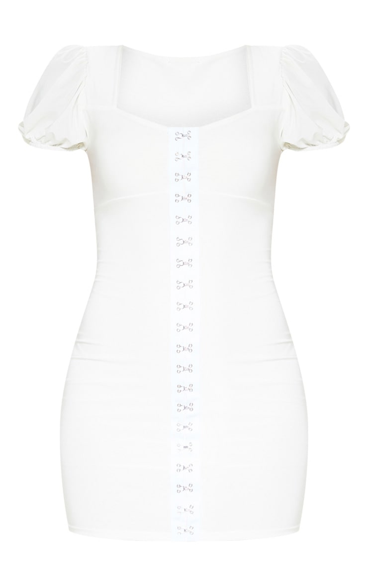 White Slinky Hook & Eye Puff Sleeve Bodycon Dress 1