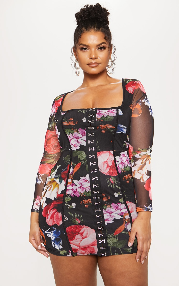 Black Floral Print Piped Detail Bodycon Dress