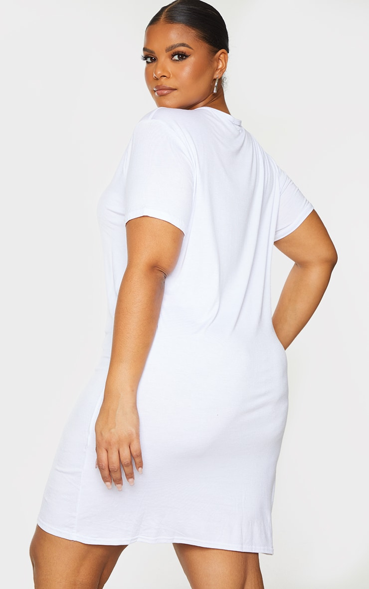 Plus Basic White Short Sleeve T Shirt Dress 3