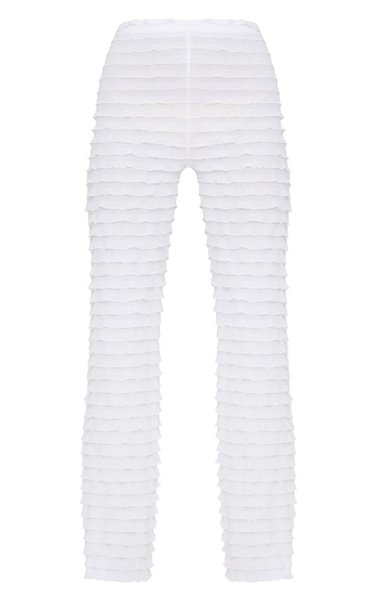 White Frill Wide Leg Pants 3