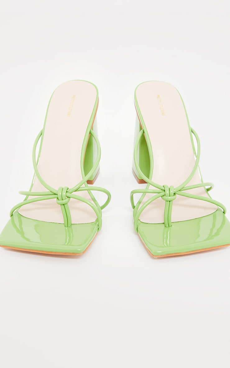 Green Wide Fit Patent PU Toe Thong Knot Heeled Mules 4