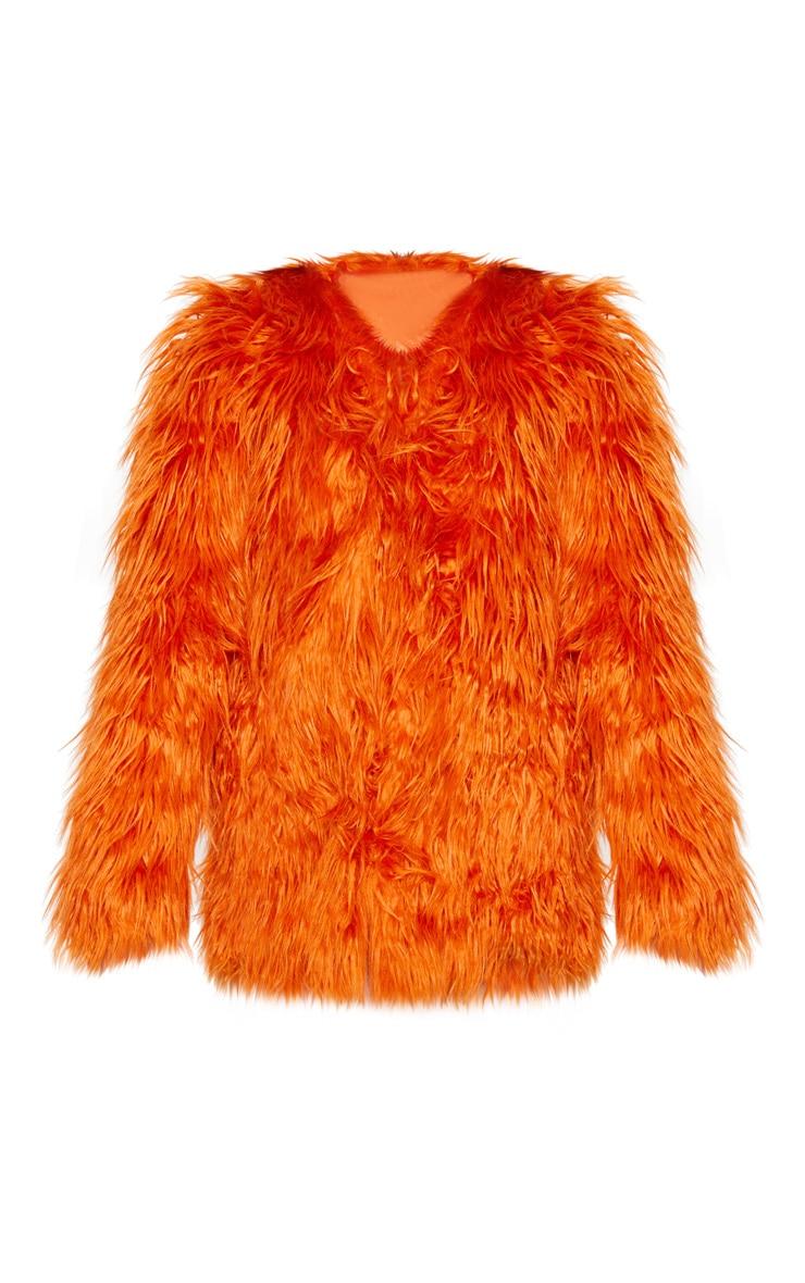 Rust Midi Shaggy Faux Fur 3