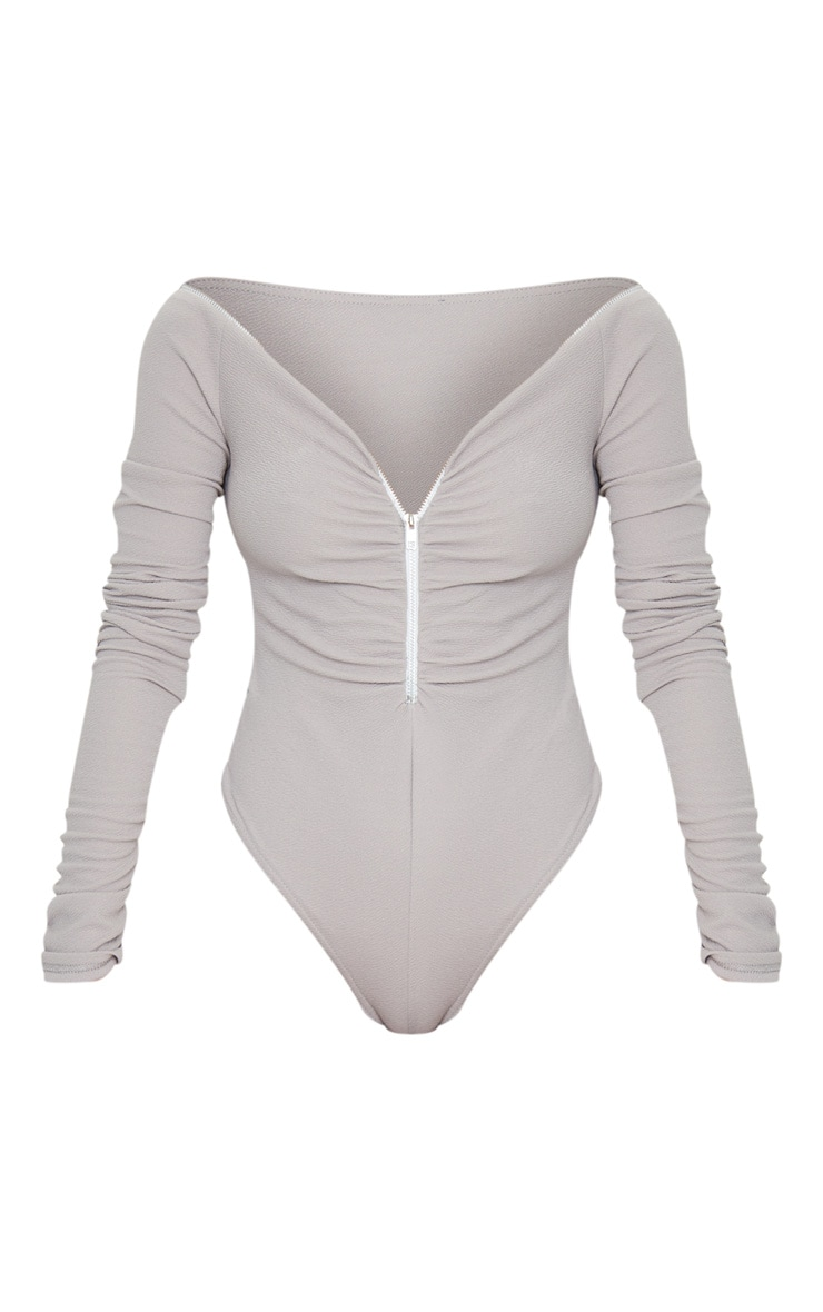 Grey Bardot Zip Ruched Sleeve Bodysuit 5