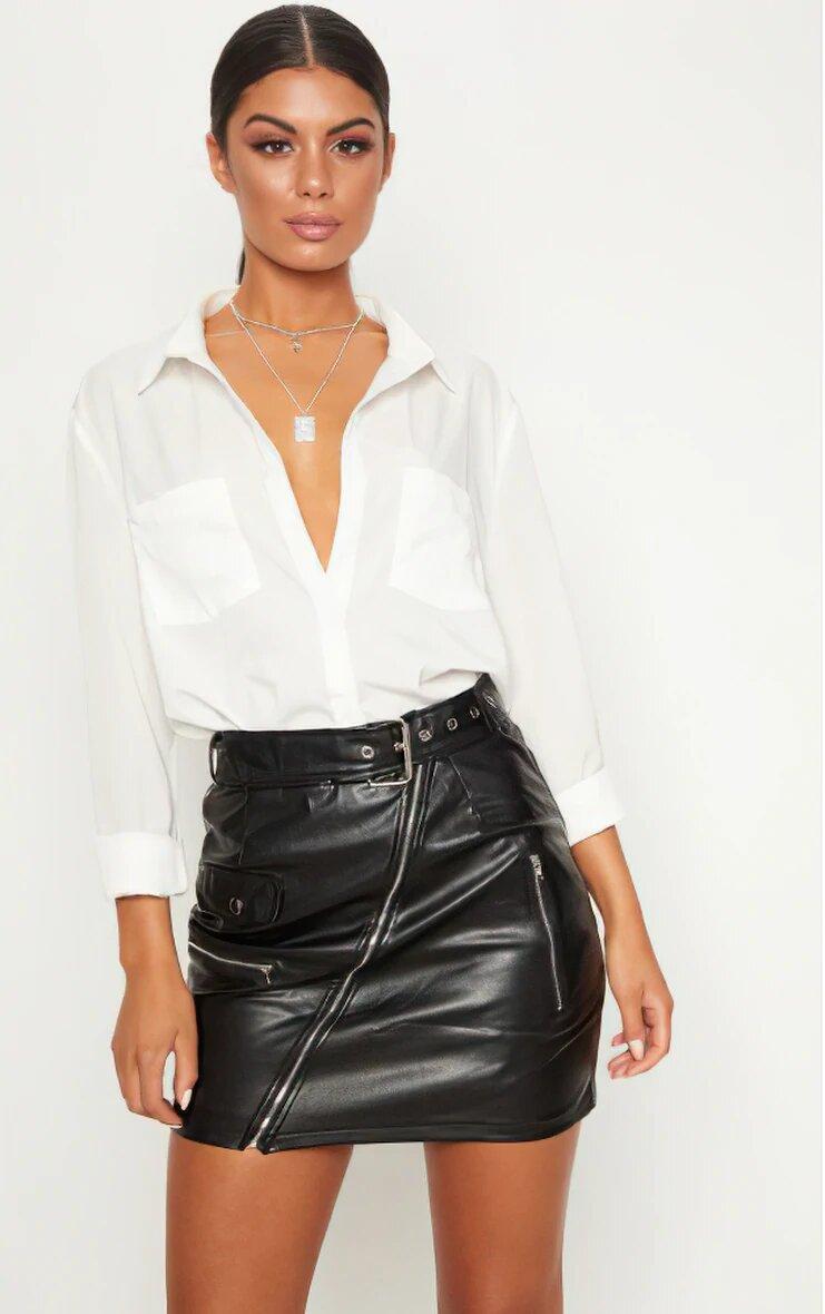 Black Faux Leather Biker Belted Mini Skirt 1
