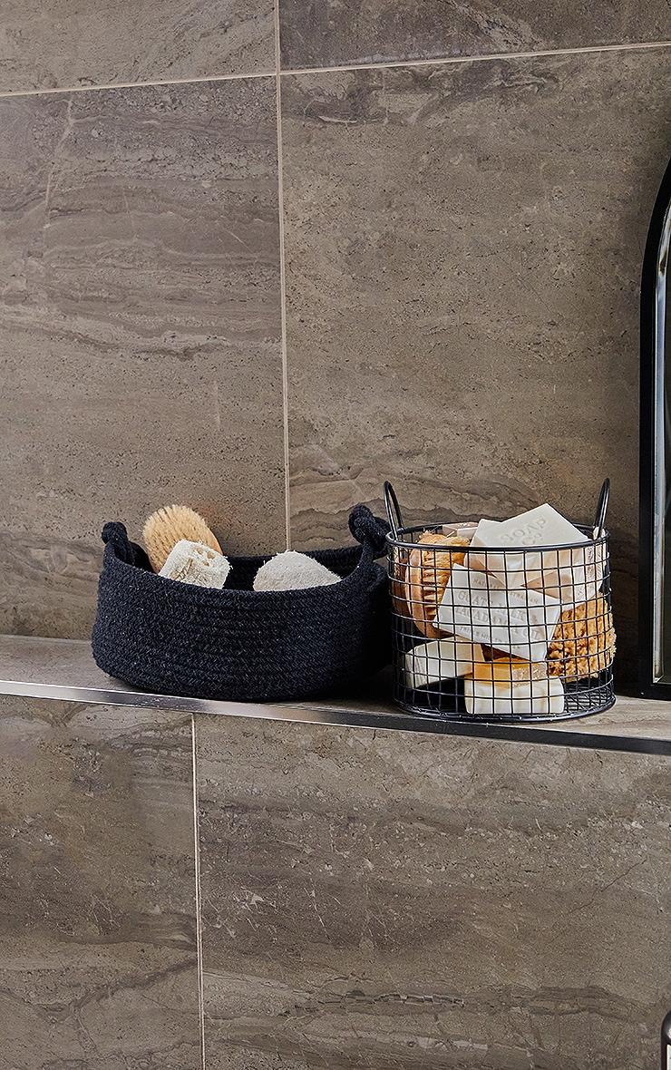 Black Medium Cotton Rope Storage Basket 1