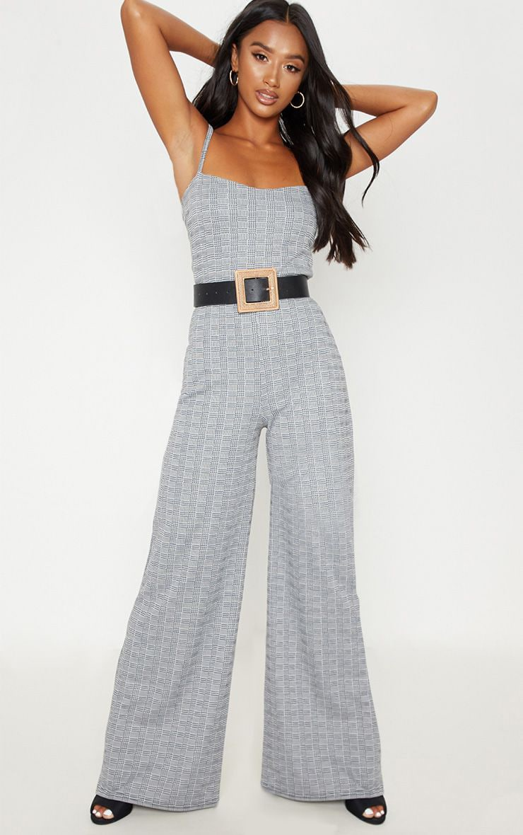 skilful manufacture release info on hot product Petite Grey Strappy Check Wide Leg Jumpsuit