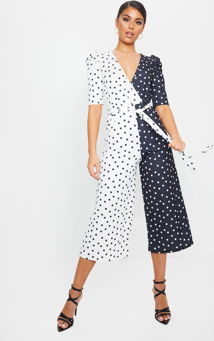 Monochrome Polka Dot Puff Sleeve Culotte Jumpsuit 1
