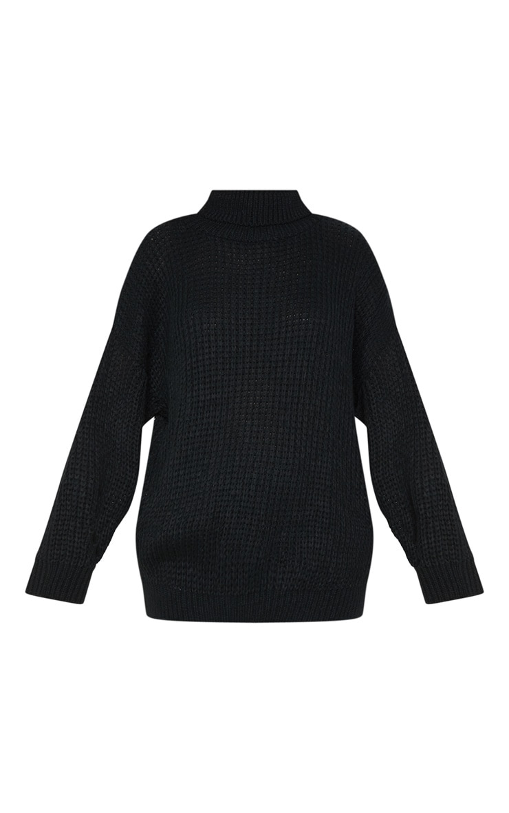 Black Oversized High Neck Knitted Jumper  3