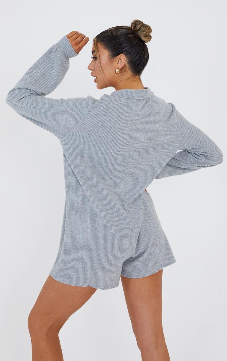 Grey Marl Brushed Rib Oversized Shirt Playsuit 2