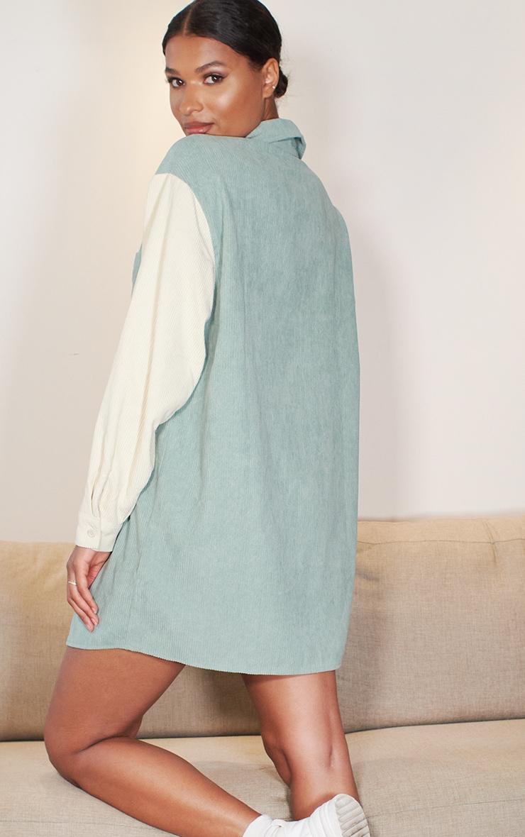 Sage Green Cord Pocket Front Oversized Shirt Dress 2