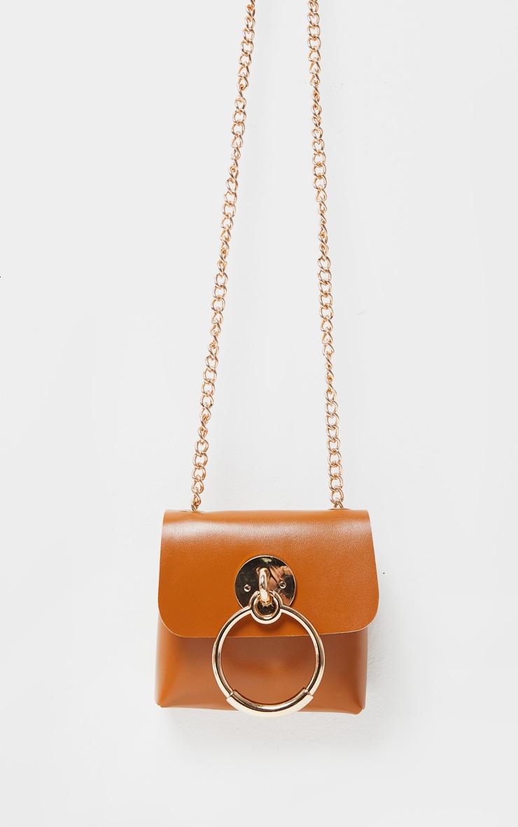 Ceinture ajustable avec pochette marron clair à détail door knocker et chaîne 4