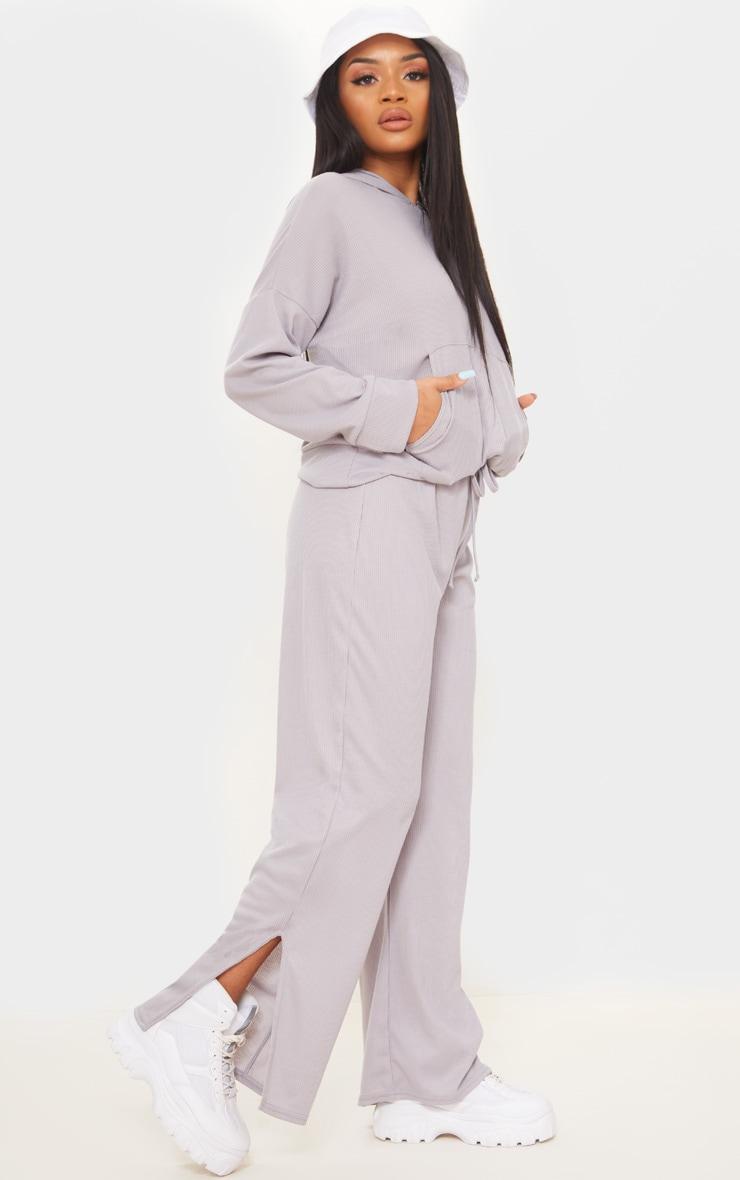 Petite Grey Ribbed Split Hem Flared Pants 1