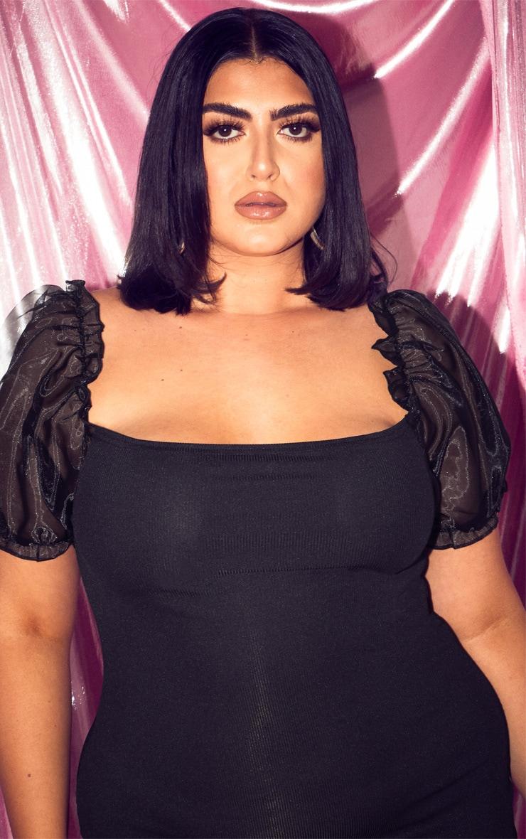 Plus Black Organza Sleeve Rib Bodycon Dress  5