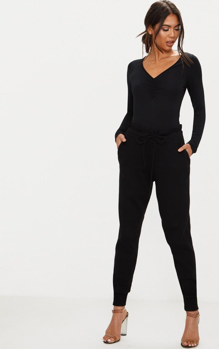 Black Jersey Ruched Front V Neck Thong Bodysuit 5