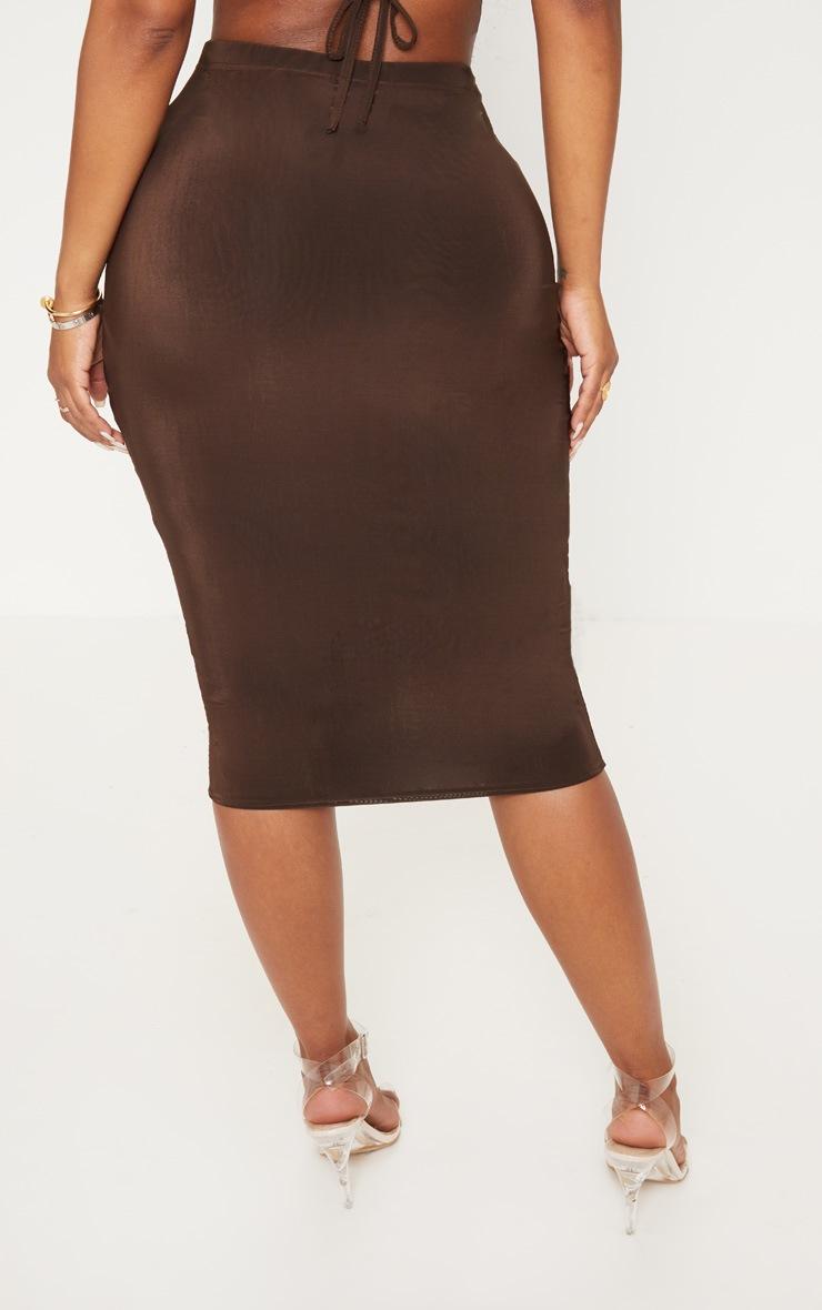Shape Chocolate Slinky High Waist Midi Skirt 4