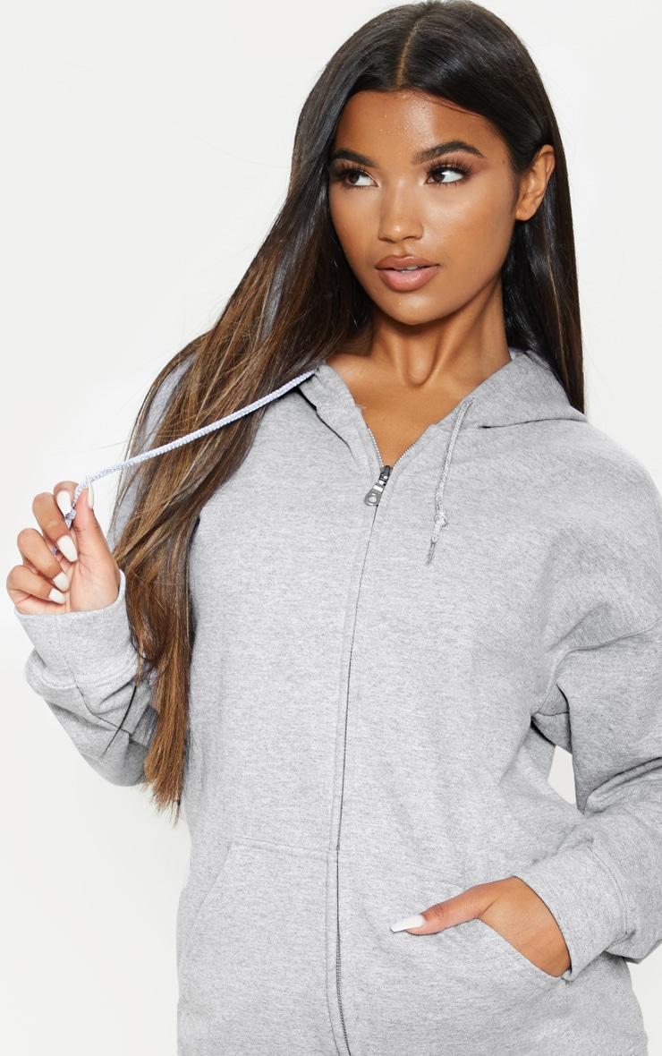 Grey Marl Zip Hoodie 5