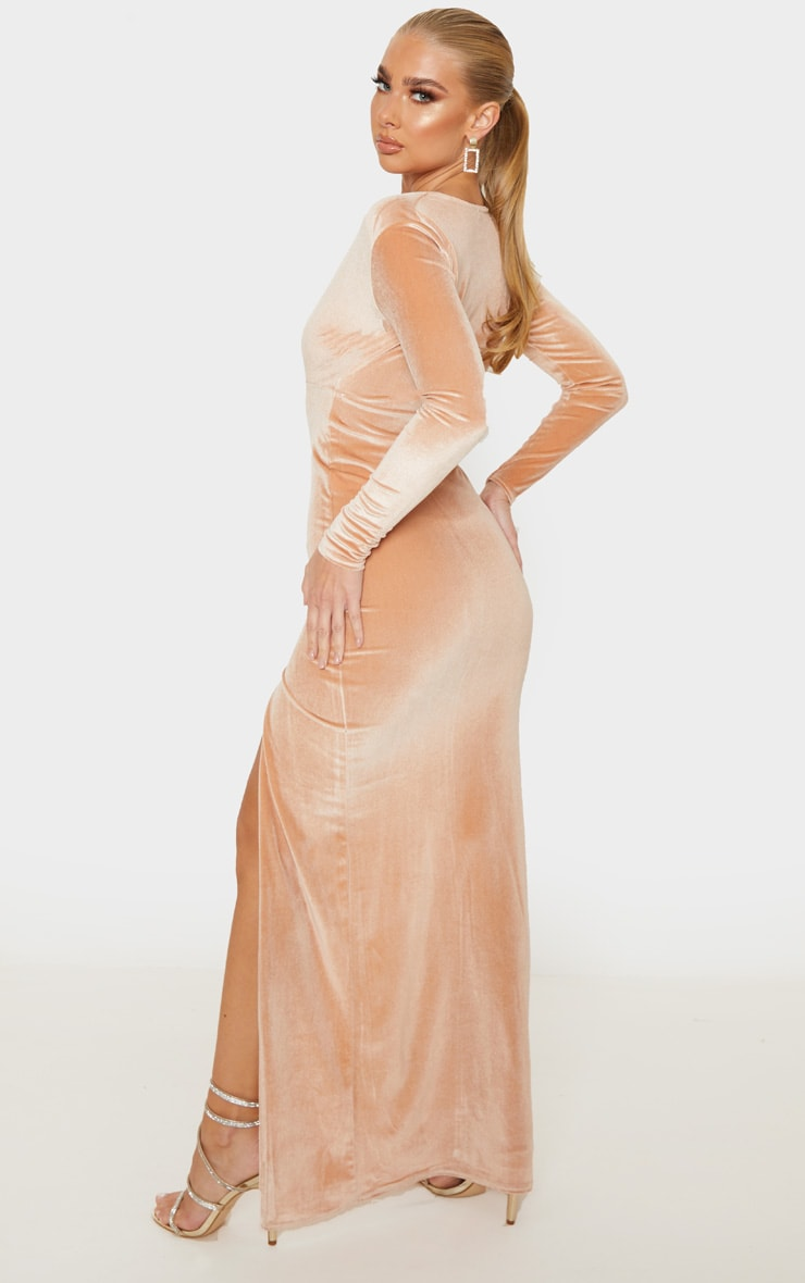 Champagne Velvet Plunge Split Leg Maxi Dress 2