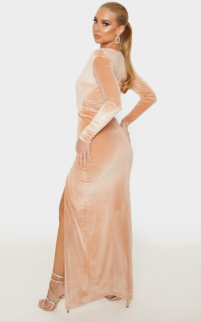 Champagne Velvet Plunge Split Leg Maxi Dress