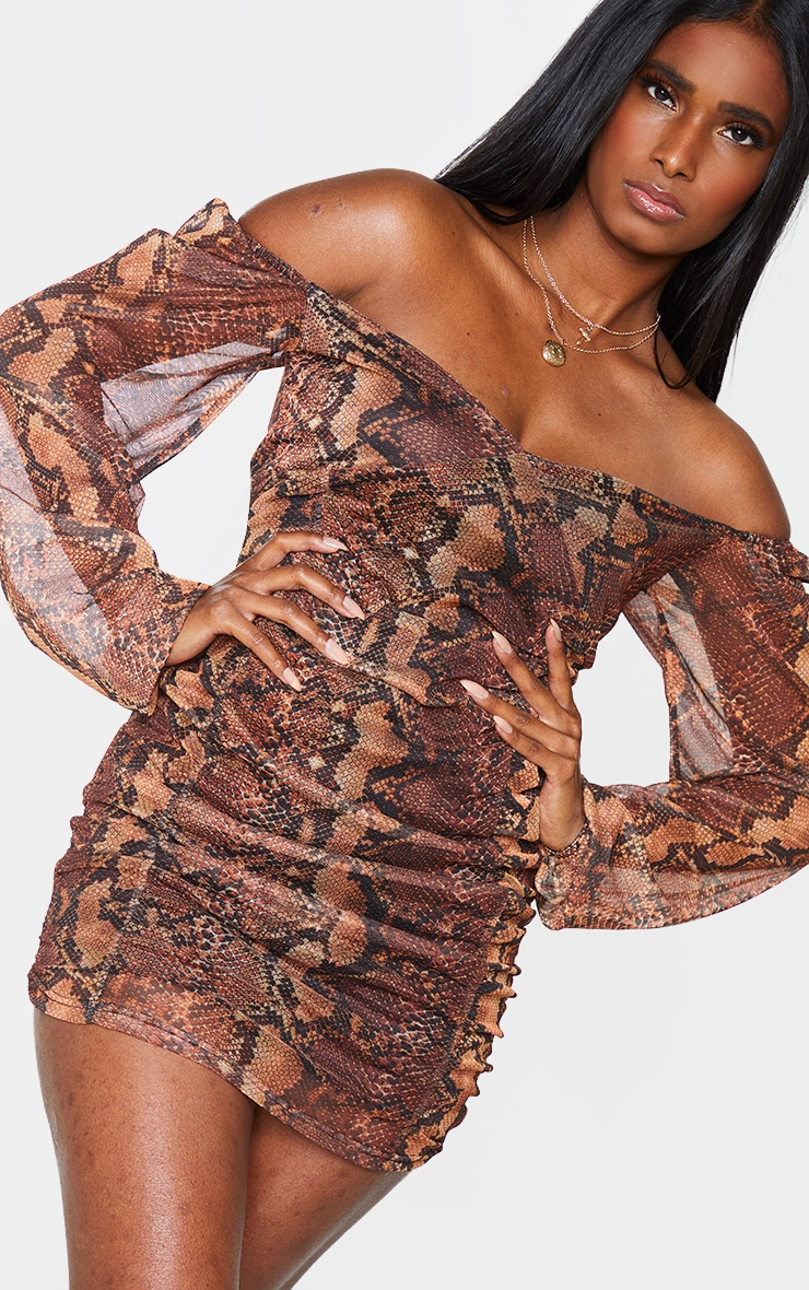 Brown Snake Print Mesh Double Ruched Long Sleeve Bodycon Dress 4