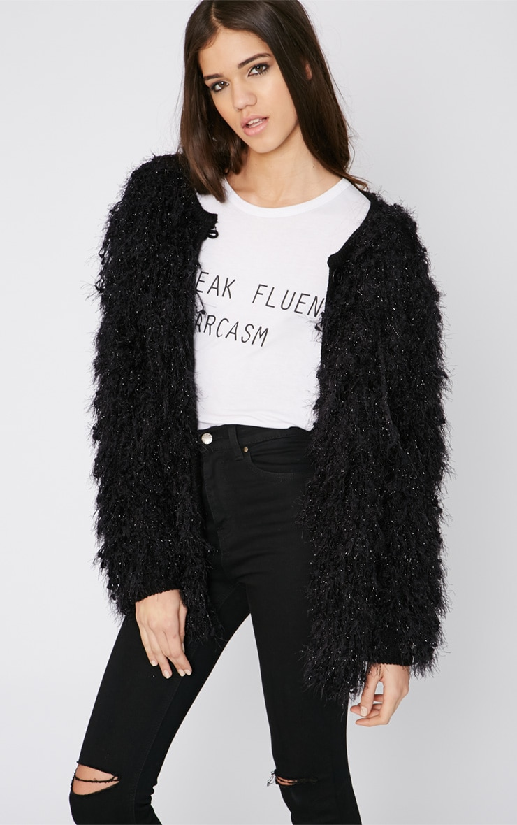 Naima Black Shaggy Knitted Jacket  4