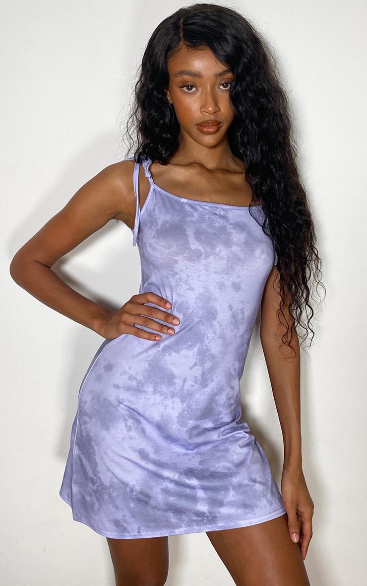 Lilac Tie Dye Tie Strap Shift Dress 2