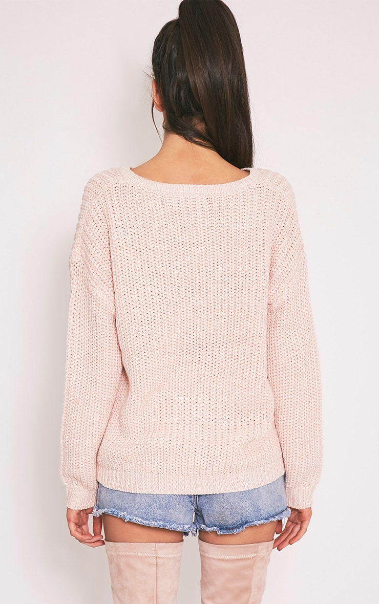 Pauline pull tricoté à encolure dégagée rose 2