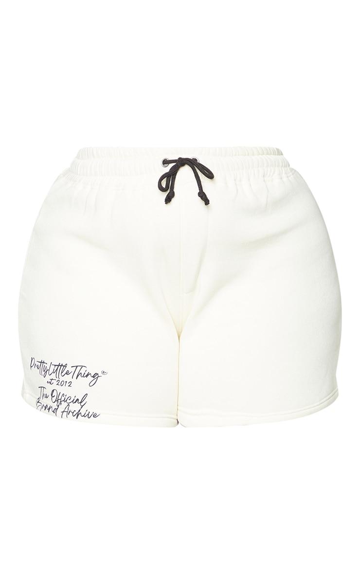 PRETTYLITTLETHING Plus Cream Drawstring Waist Sweat Shorts 6