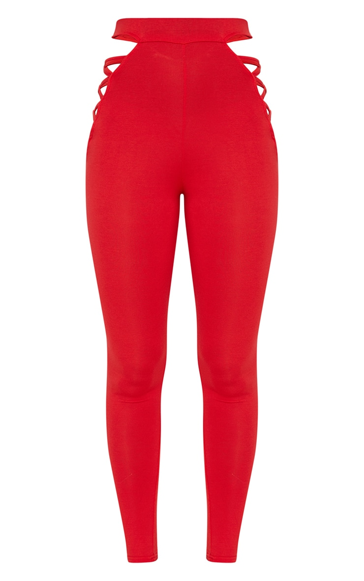 Red Jersey Lace Up Insert Leggings 3