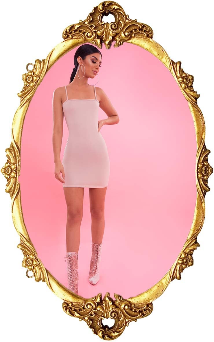 Nude Crepe Strappy Straight Neck Bodycon Dress 1