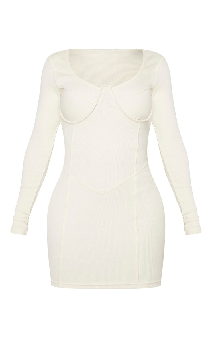 Shape Cream Rib Cup Detail Panelled Bodycon Dress 5