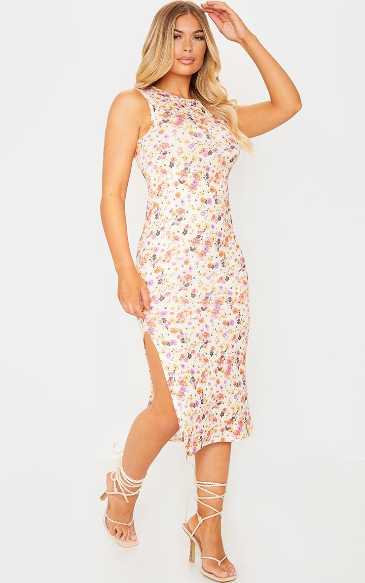White Floral Print Split Side Sleeveless Midi Dress 1