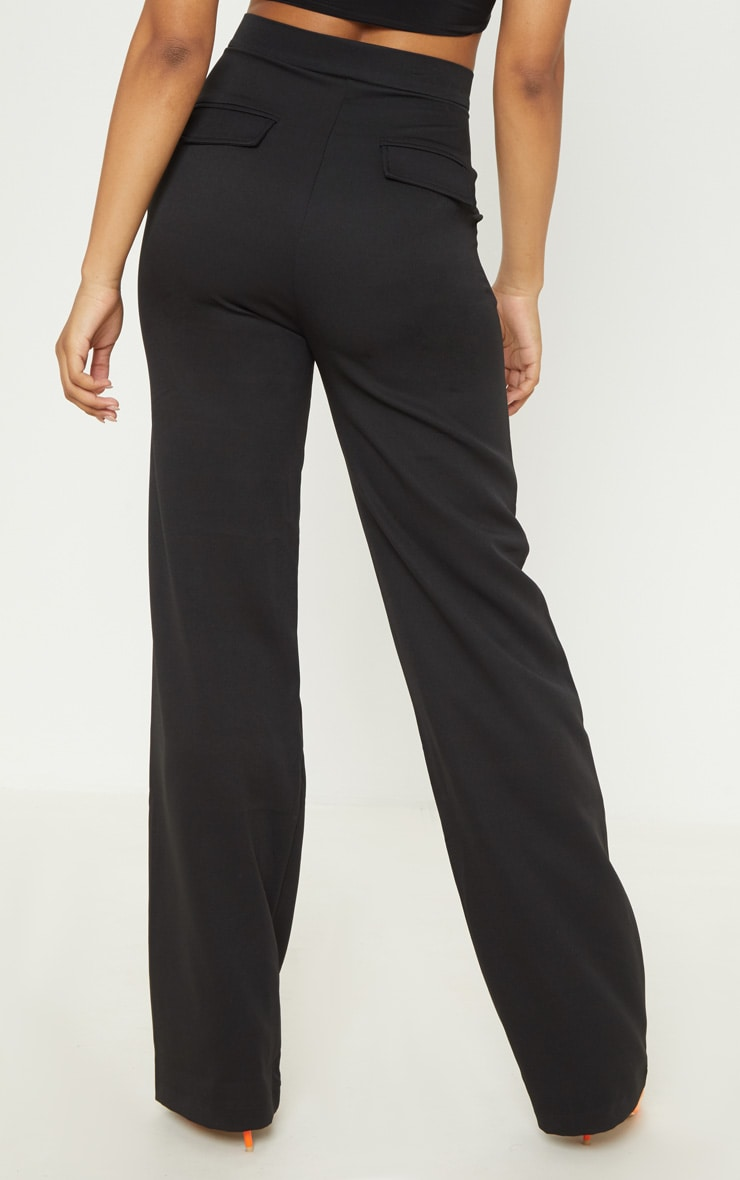 Tall Black Pocket Detail High Waisted Wide Leg Pants  4