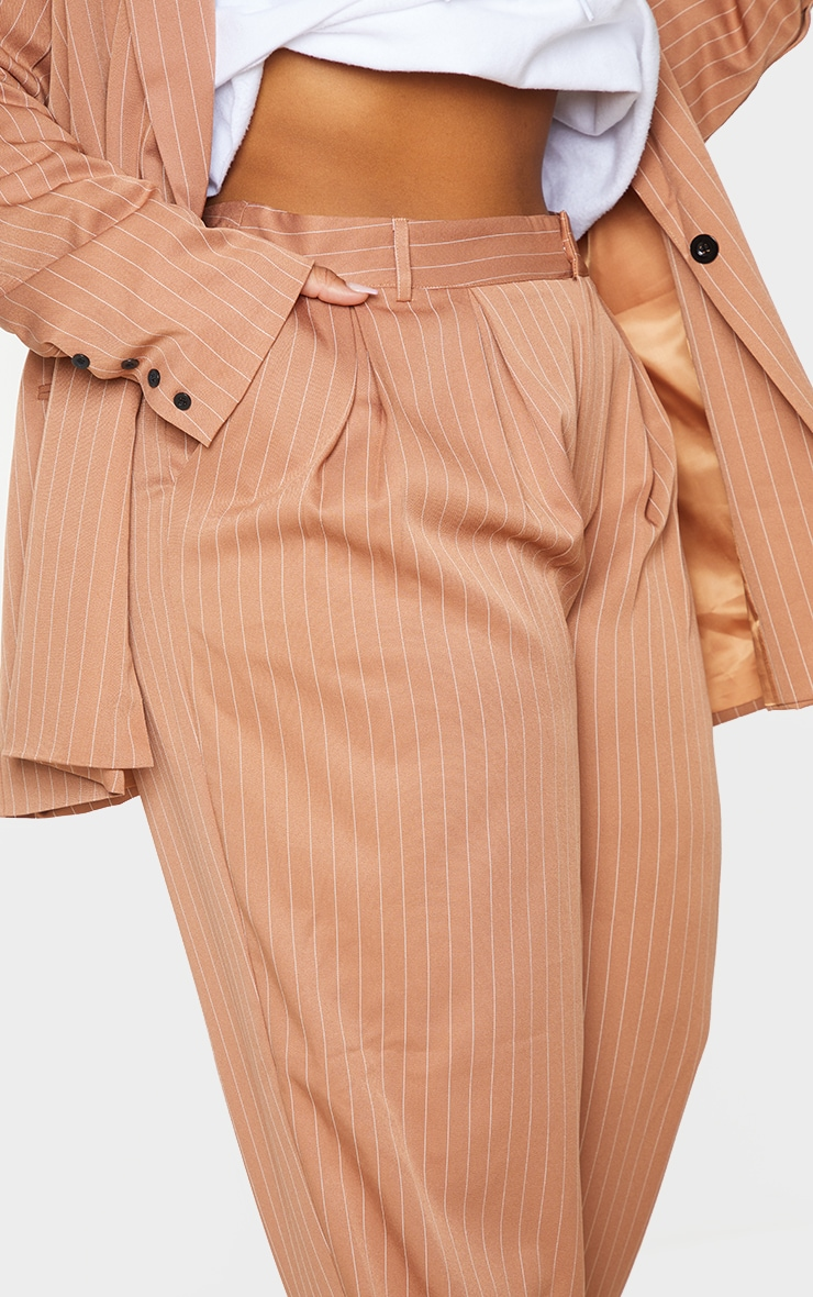 Plus Brown Pinstripe Woven High Waisted Cigarette Pants 4