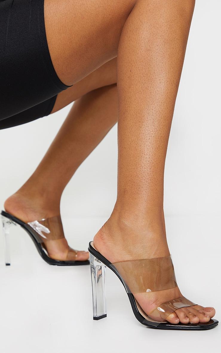 Black Tinted Clear Twin Strap Mule Heels 1