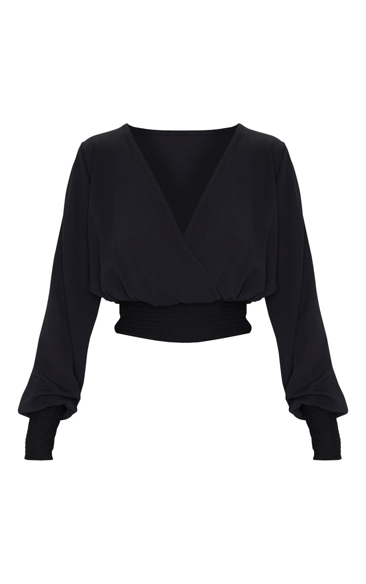 Black Chiffon Shirred Sleeve Blouse 3
