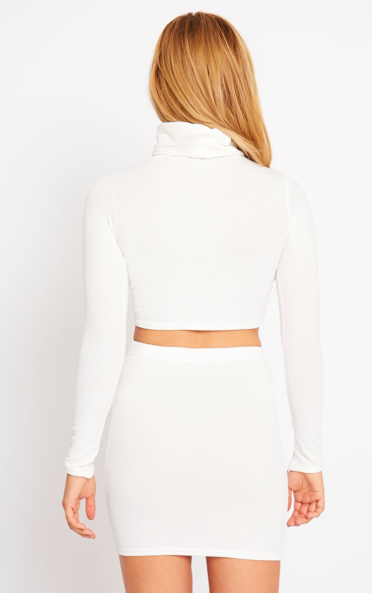 Emilia Cream Crepe Roll Neck Crop Top 2