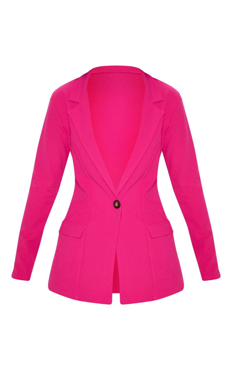 Pink Fitted Button Detail Crepe Blazer 3