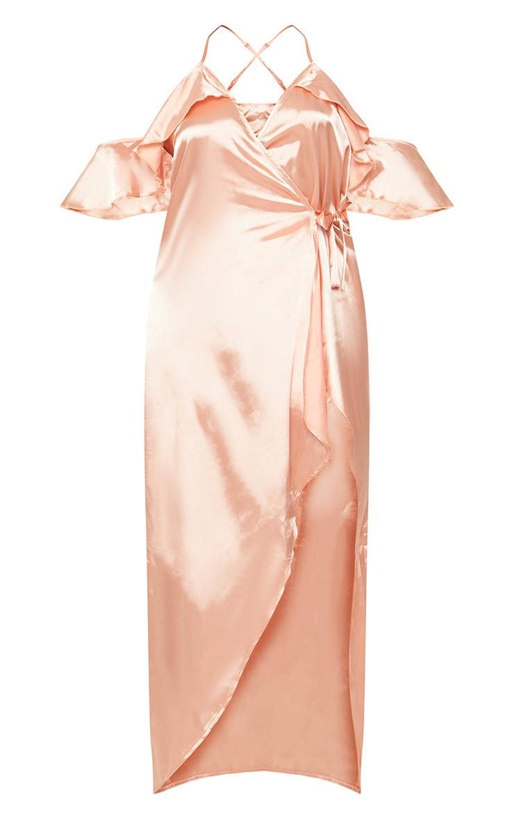 Plus Peach Satin Frill Detail Wrap Maxi Dress 3