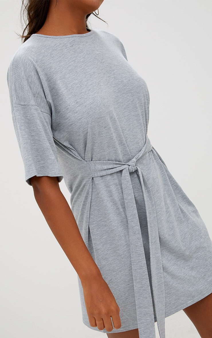 Grey Tie Waist T Shirt Dress 5