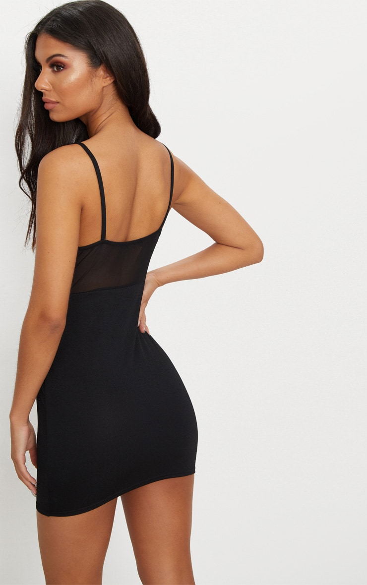 Black Mesh Top Binding Detail Strappy Bodycon Dress 2