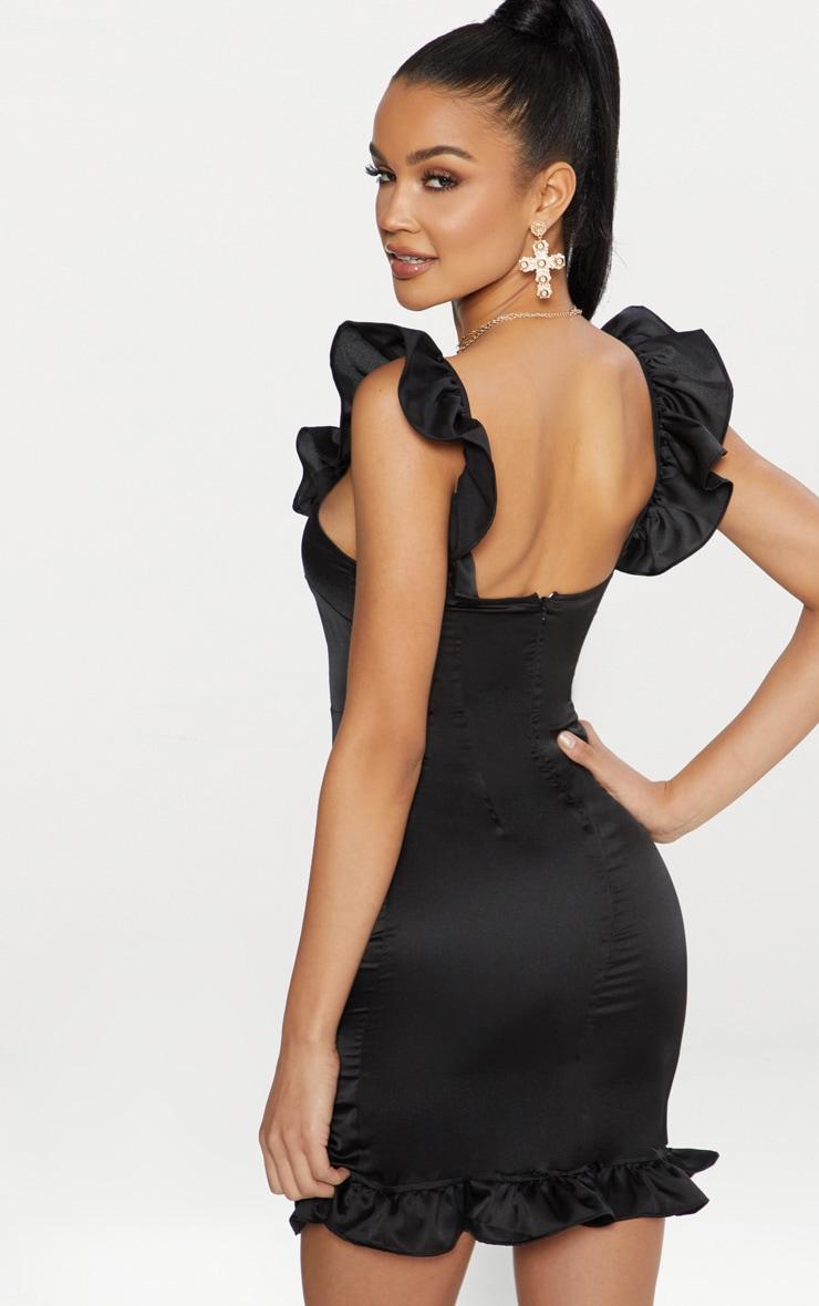 Black Satin V Bar Frill Detail Bodycon Dress 2