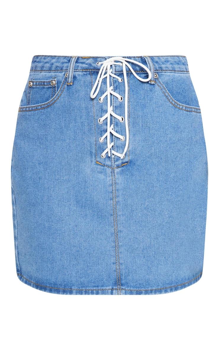 Mid Wash Lace Up Front Denim Mini Skirt 3